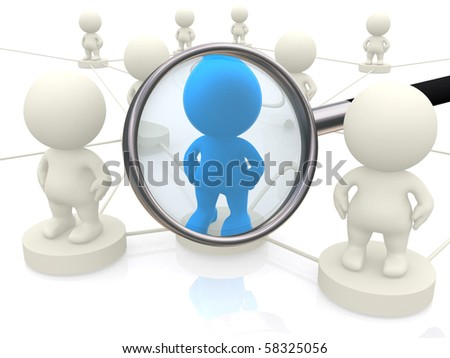 3d people networking with magnifier isolated over a white background