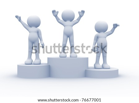 3d people on podium - this is a 3d render illustration - stock photo