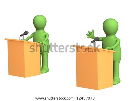 3d people - puppets, participating political debate. Object over white - stock photo