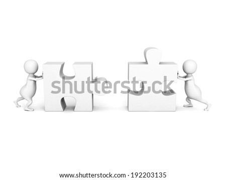 3d people push pieces of puzzle to connect together. teamwork business concept 3d render illustration