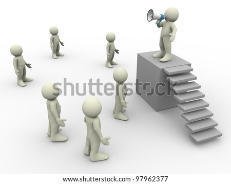 3d people - render of man speaking in front of crowd