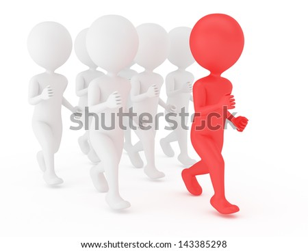 3d people run behind  leader isolated on white
