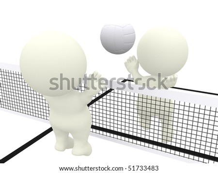 3D people smashing and blocking on a volleyball match isolated over white