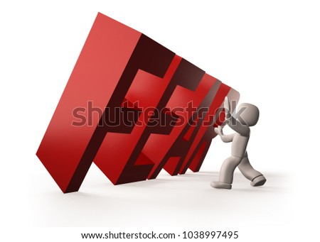 3d people stopping red FEAR word falling, isolated on white. 3D illustration