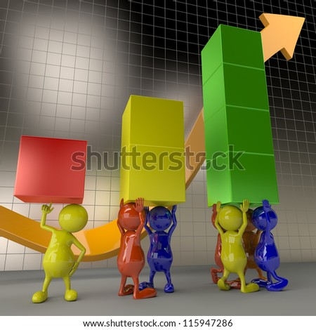 3D People Teamwork, Holding Chart Elements