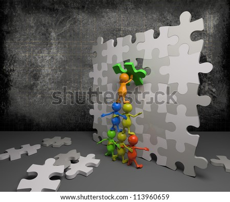 3d people teamwork with puzzle