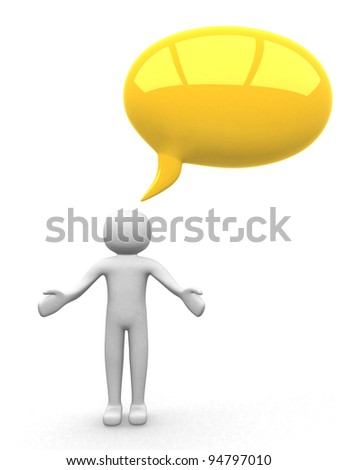 3d people with a blank bubble. 3d render illustration