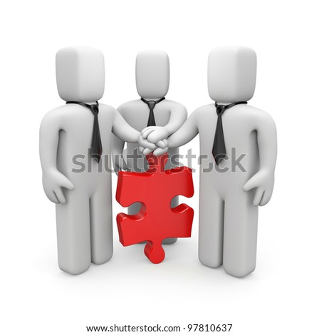 3d people with hands on top of puzzle. Image contain clipping path