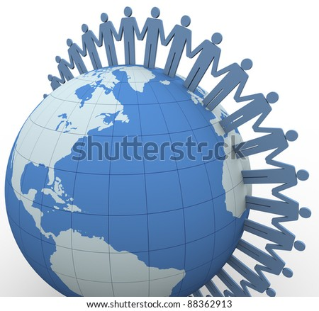 3d people with holding hands around the globe - stock photo
