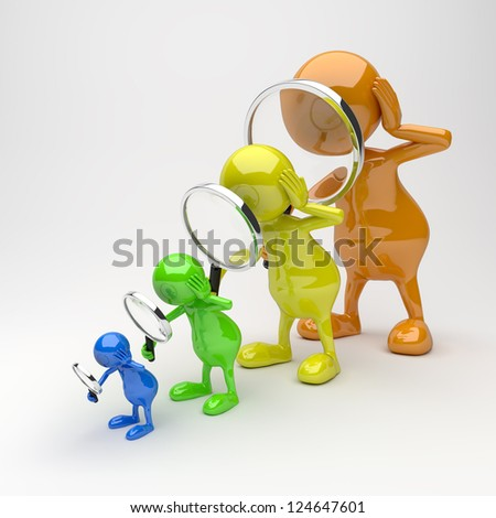 3D People with Magnifying Glass in Different Colors