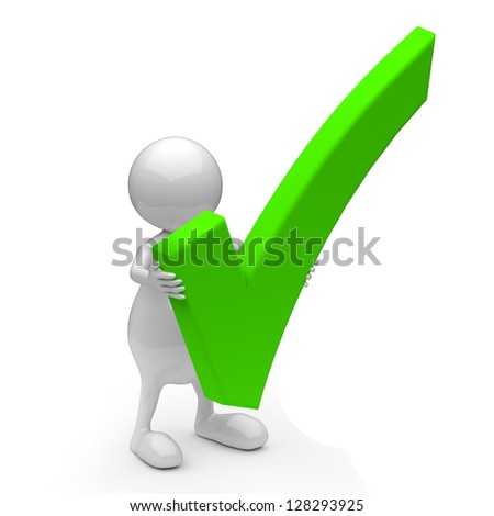 3D People with OK Sign on White Background