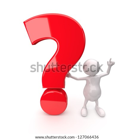 3D People with Question Mark on White Background