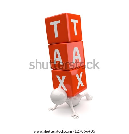 3D People with Word Tax on White Background