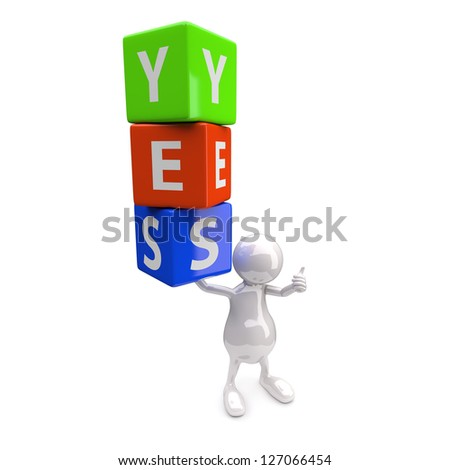 3D People with Word Yes on White Background