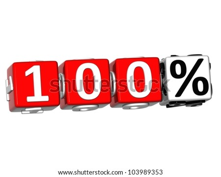 3D 100 Percent Button Click Here Block Text over white background