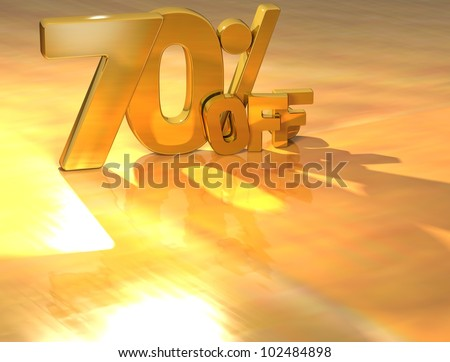 3D 70 Percent Gold Text over yellow background