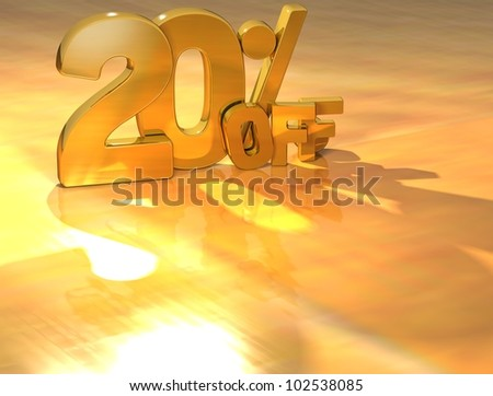 3D 20 Percent Gold Text over yellow background