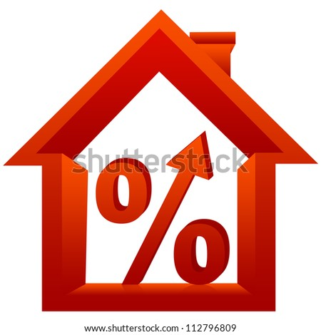 3D Percentage With Arrow Head Inside The House For Real Estate Business Isolated On a White Background