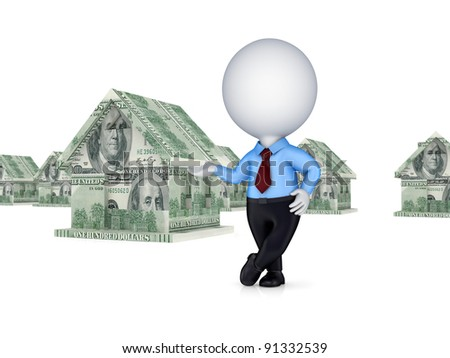 3d person and small house made of money. Isolated on white background.