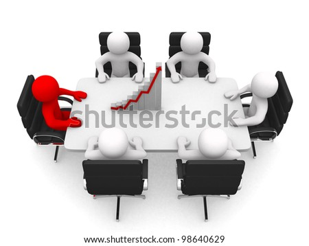 3d person at a conference table. Leadership and team. 3d render illustration