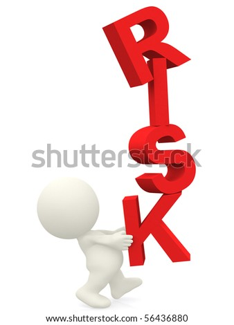 3D person balancing the word risk - isolated over a white background