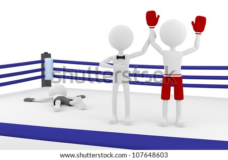 3d person boxer winning a match in a boxing ring with a referee lifting his hand. 3d image render.