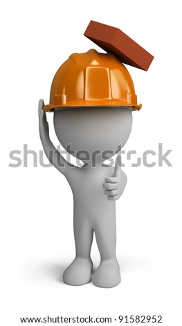 3d person - builder man in a helmet with a falling brick from the top. 3d image. Isolated white background.