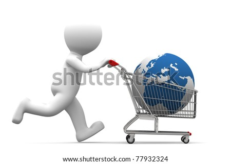 3d person carrying shopping cart with globe. Isolated on white background