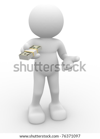 3d person character giving a stack of U.S. dollars - This is a 3d render illustration