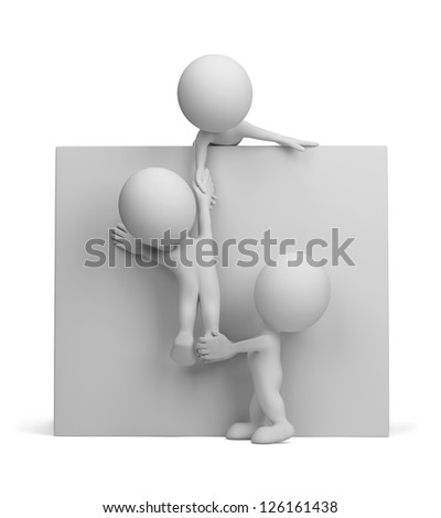 3d person - help to the friend. 3d image. Isolated white background.