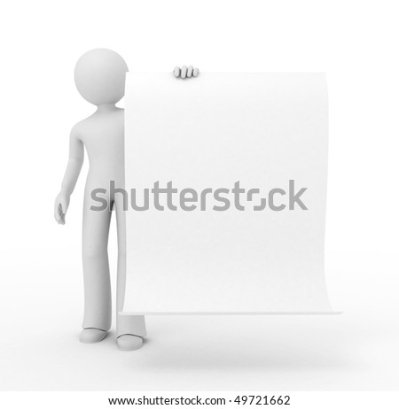 3d person hold a sheet of blank paper.