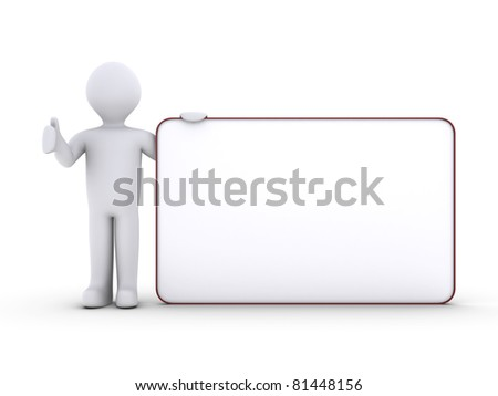 3d person holding a blank board