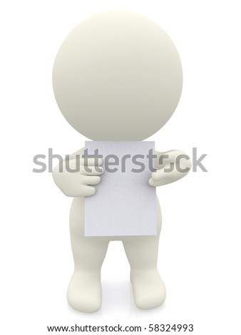 3D person holding a blankcard isolated over white background