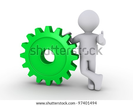 3d person holding a green cogwheel