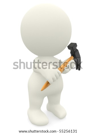 3D person holding a hammer - isolated over a white background