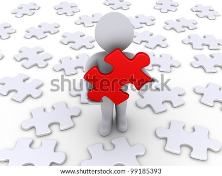 3d person holding a red puzzle piece and other white ones lying on the ground