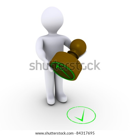 3d person holding stamp in front of check mark