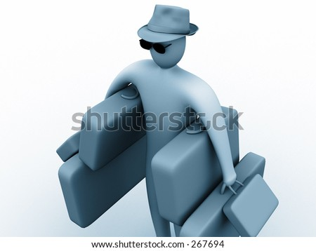 3d person holding suitcases.