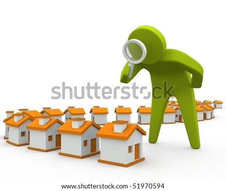 3D person inspecting houses using magnifying glass