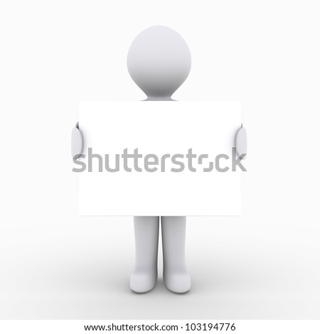 3d person is holding a blank sign
