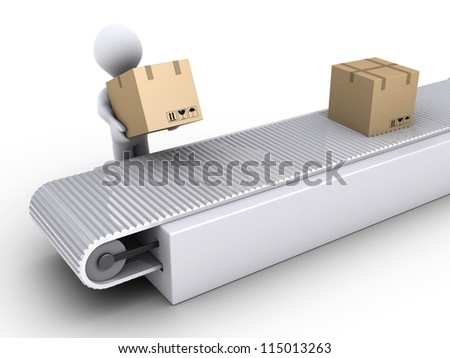 3d person is putting a box on conveyor for shipping