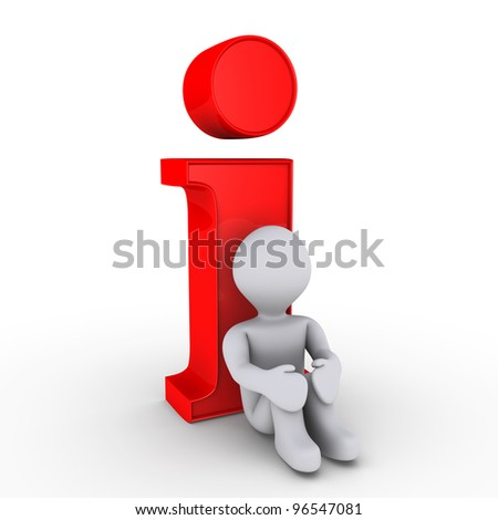 3d person is resting on red information symbol - stock photo