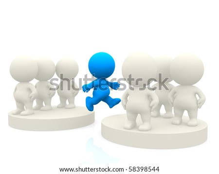 3D person jumping from one team to another isolated over a white background