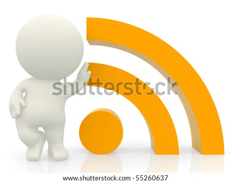 3D person leaning on a RSS sign isolated over a white background