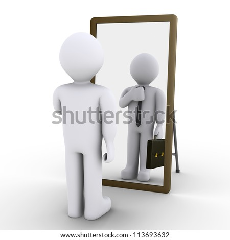 3d person looking at mirror and sees himself as businessman - stock photo