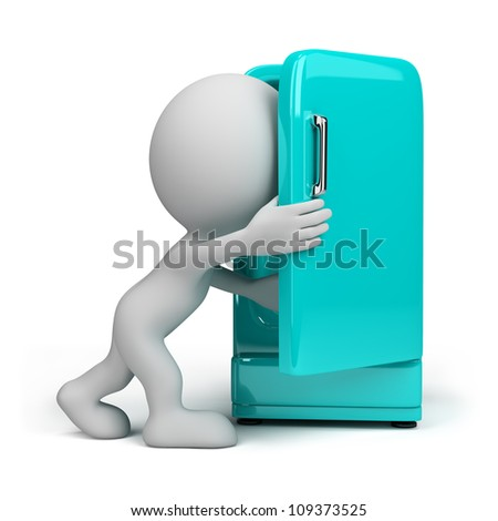 3d person looking inside a vintage fridge. 3d image. Isolated white background.