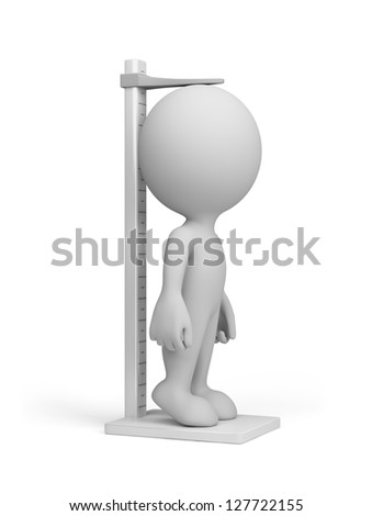 3d person measure their growth. 3d image. White background.