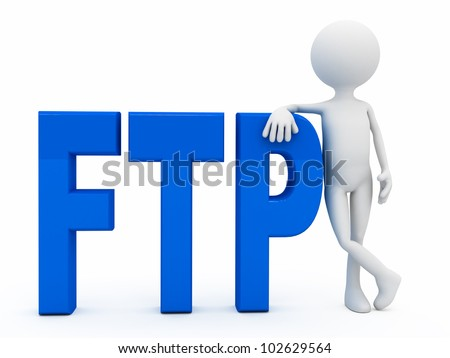 3d person near letters FTP over white background