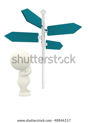 3D person next to a direction sign wondering which way to go