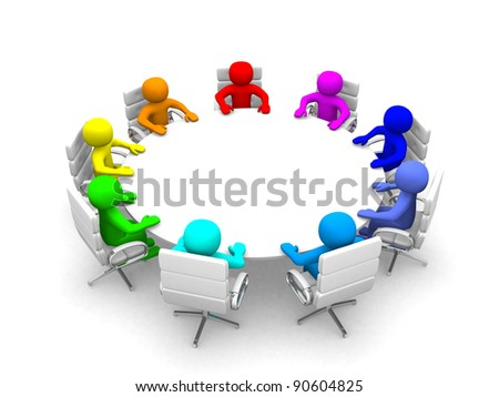 3d person of different nationalities at the conference table